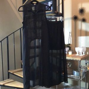 Two-piece Black Sheer Mini Skirt and Vest Set